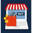 shopping bag online laptop store market icon vector image vector image