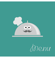 Silver platter cloche Chef hat with eyes moustach vector image