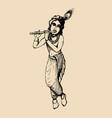 sketch of young krishna happy janmashtami vector image