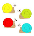 snail icon set colorful shell house cute cartoon vector image vector image