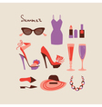 Summer collection of isolated woman clothes and vector image