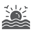 sunset glyph icon sunrise and ocean sun sign vector image vector image