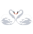 swan couple color 01 vector image