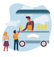 sweet cotton food truck vendor or seller and vector image