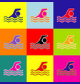 swimming water sport sign pop-art style vector image