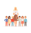 teacher with kids group young pupils standing vector image vector image