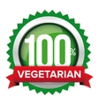 Vegetarian badge with red ribbon vector image vector image