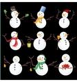 Winter Christmas snowmen collection vector image