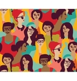 Woman only crowd group color seamless pattern vector image