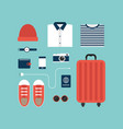 world travel icons and object concept flat design vector image vector image