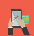 hand hold smartphone with mobile payments vector image