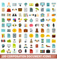 100 corporation document icons set flat style vector image vector image