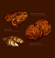 advertising freshly baked rolls and croissants vector image