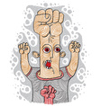 Aggressor concept hand-drawn of a weird person sho vector image vector image
