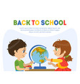 back to school banner template with cute boy vector image vector image