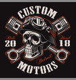 biker skull with crossed pistons t-shirt design vector image vector image