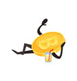 bitcoin character lying and resting glass of vector image vector image