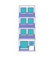 building facade of four floors in blue and purple vector image