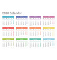calendar for 2020 starts monday vector image