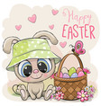 cartoon bunny with a basket easter eggs vector image vector image