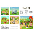 cartoon farm animals colorful composition vector image vector image