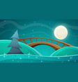 cartoon night landscape moon bridge fir sky vector image vector image
