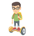 caucasian schoolboy riding on gyroboard to school vector image