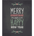 Chalkboard style vintage christmas greeting card vector image vector image
