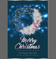 christmas poster or card template with wreath vector image vector image