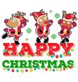Christmas theme with three reindeers dancing vector image