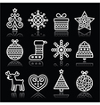 Christmas white icons with stroke on black vector image vector image