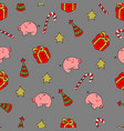 christmass patch logo gift pig cookies seamless vector image