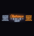 clearance sale neon sign on dark background vector image vector image