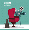 colorful poster of cinema time with movie vector image vector image