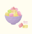 colorful turkish delight or rahat lokum and nougat vector image