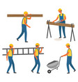 construction works workers with tool or materials vector image vector image