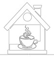continuous one line drawing coffee house concept vector image vector image