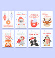 cute animals christmas cards christmas vector image vector image