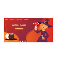 cute little halloween girl witch with amaita vector image vector image