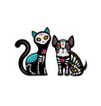 day dead dia de los muertos dog and cat vector image