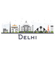 delhi india city skyline with color buildings vector image vector image