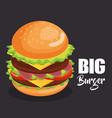 delicious big burger fast food vector image