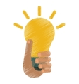 drawing hand holds bulb idea innovation creative vector image vector image
