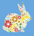 Easter card with bunny from flowers vector image vector image