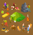 eco tourism hiking summer picnic isometric vector image vector image