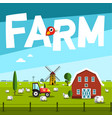 farm with barn and tractor vector image vector image