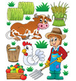 farmer theme set 1 vector image vector image