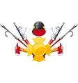 fire-fighting equipment emblem vector image vector image
