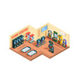 game center isometric room with slot vector image