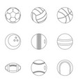 game equipment icons set outline style vector image